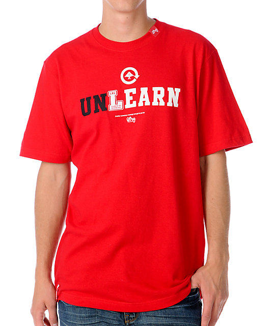LRG Mens Unlearn Red T-Shirt