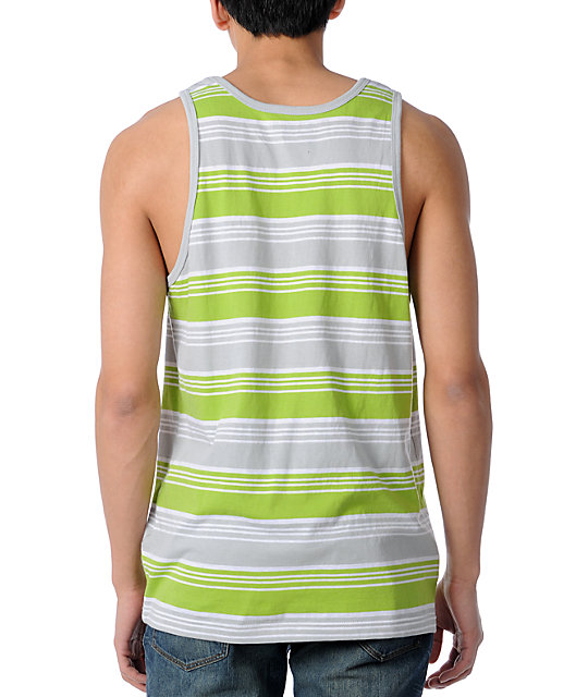 LRG Mystery Sounds Lime Green Stripe Tank Top