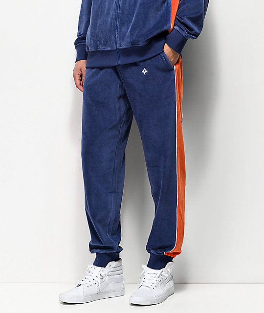 LRG Payback Navy & Red Velour Sweatpants