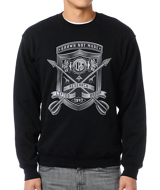 0a3c7be544b LRG Shield With Arrows Black Crew Neck Sweatshirt   Zumiez