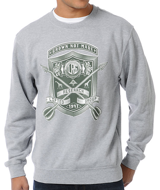 LRG Shield With Arrows Heather Grey Crew Neck Sweatshirt