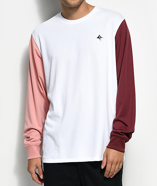 LRG South Paw White, Mauve & Burgundy Long Sleeve T-Shirt