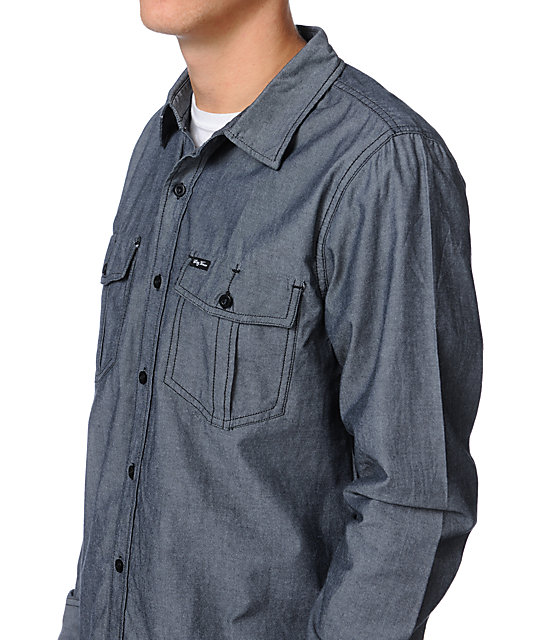 LRG Stay Peaking Black Chambray Button Up Shirt