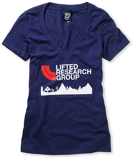 LRG Towering Summit Navy Blue V-Neck T-Shirt