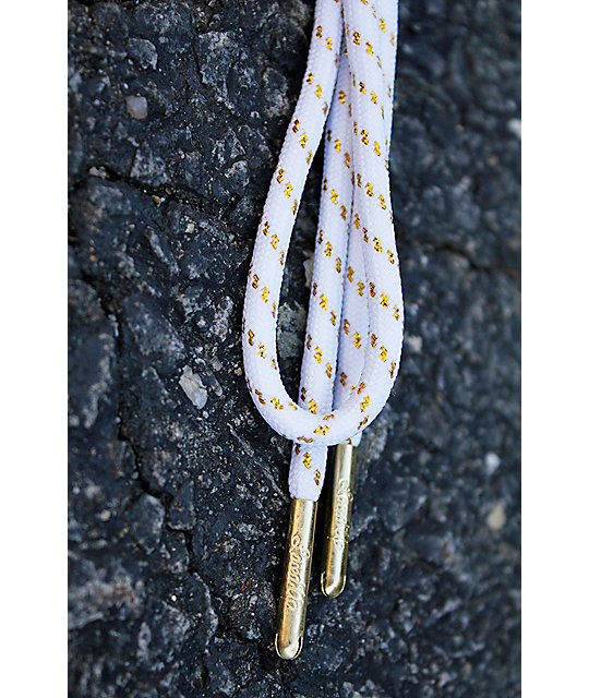 Laced Up White Gold Thread Shoe Laces