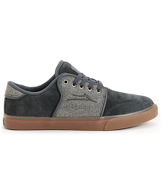 Lakai Carlo Grey Wool & Gum Skate Shoes