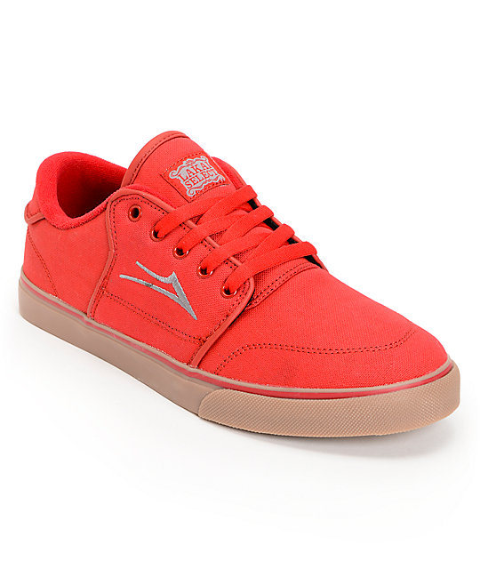 Lakai Carlo Red & Gum Canvas Skate Shoes
