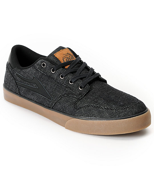 Lakai Carroll 5 Black Denim Skate Shoes