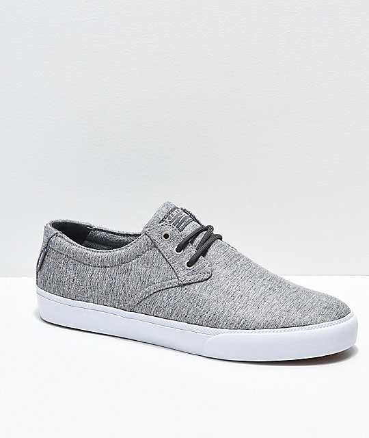 Lakai Daly Grey & White Textile Skate Shoes