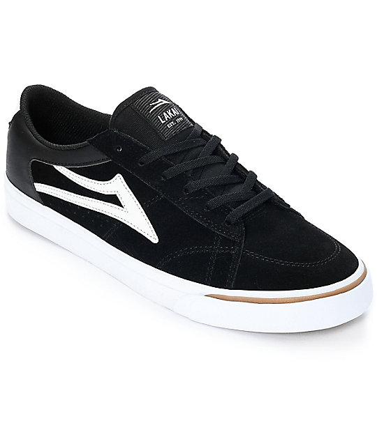 Lakai Ellis Black & White Suede Skate Shoes ...