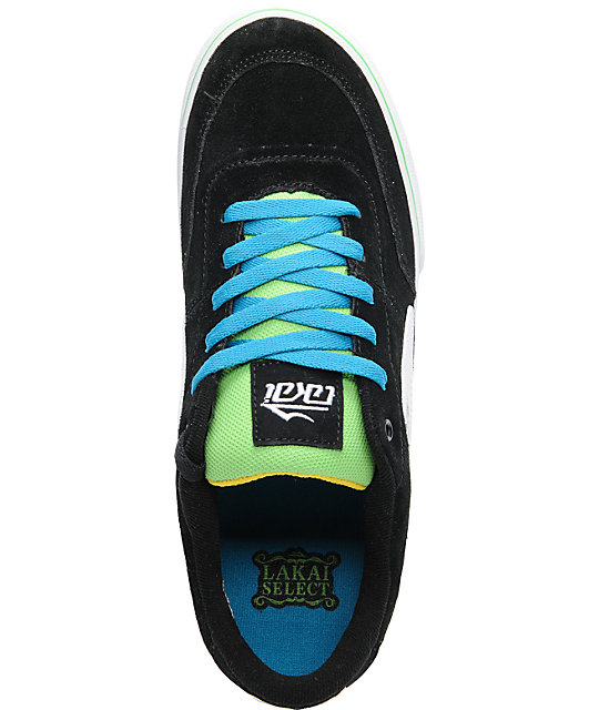 Lakai Encino Black, Grey & Teal Suede Skate Shoes
