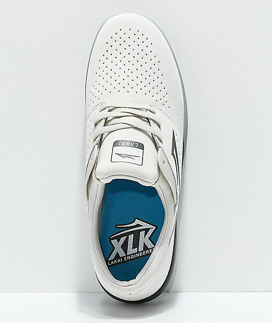 Lakai Fremont White & Crystal Suede Skate Shoes