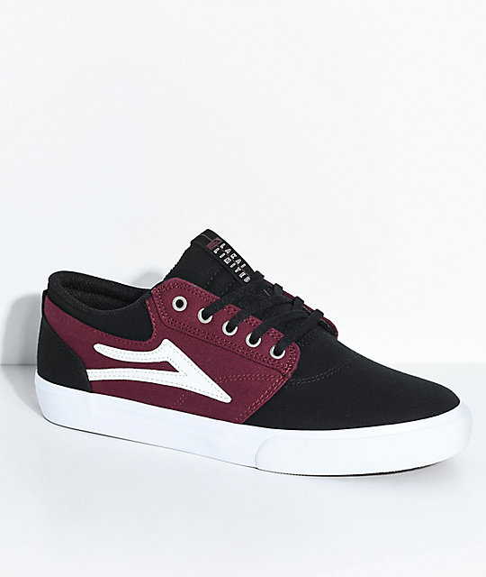 Lakai Griffin Black & Port Red Canvas Skate Shoes