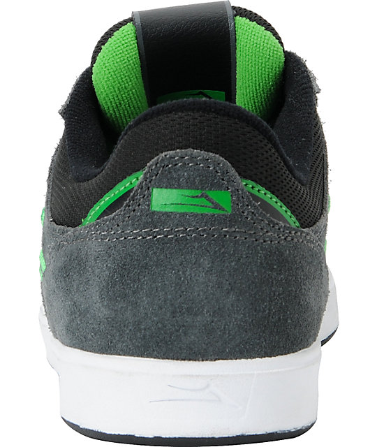 Lakai Linden Grey & Green Suede Skate Shoes