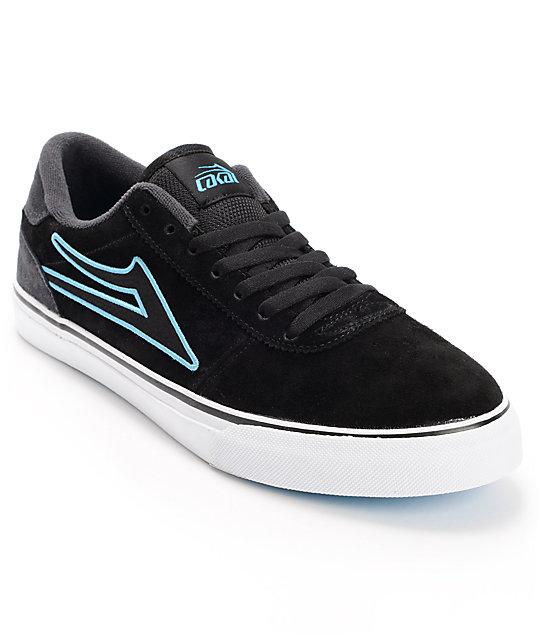 Lakai Manchester Black, Grey, & Blue Suede Skate Shoes