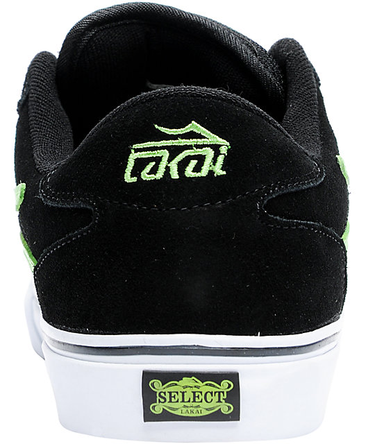 Lakai Manchester Select Black & Lime Skate Shoes