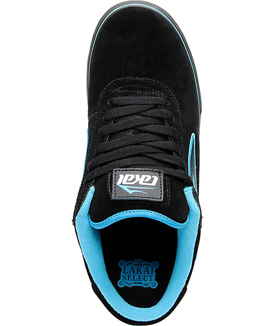 Lakai Manchester Select Black & Turquoise Skate Shoes