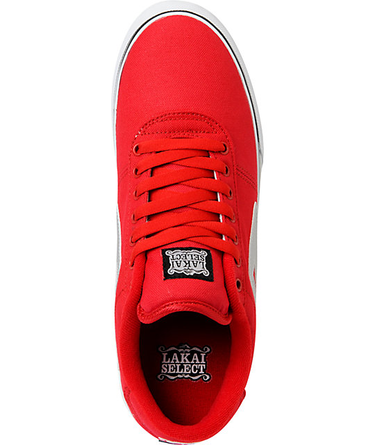 Lakai Manchester Select Red & Silver Skate Shoes