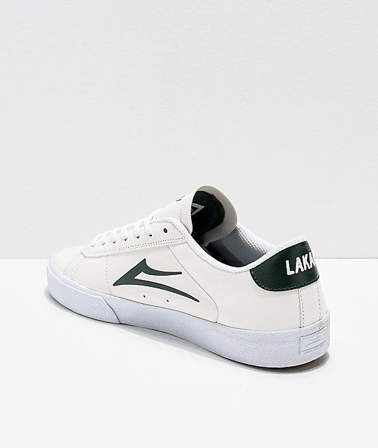 Lakai Newport White & Pine Leather Skate Shoes