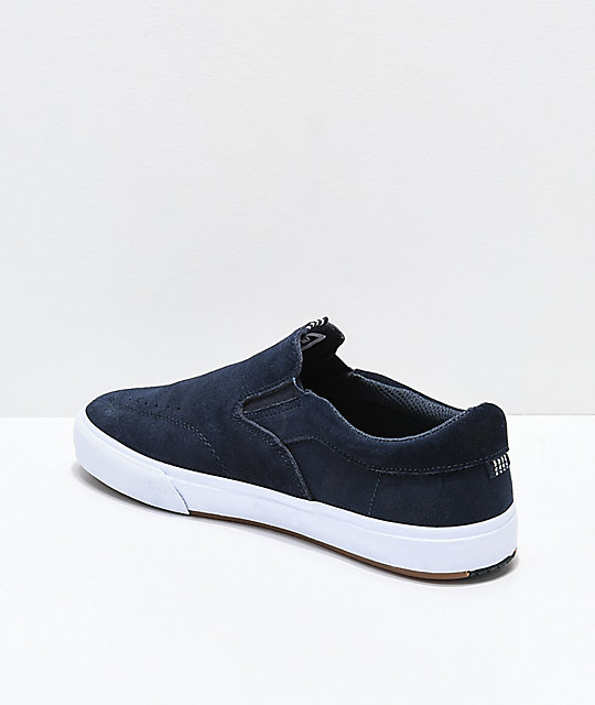 50ee54229b3 ... Lakai Owen VLK Midnight Blue   White Suede Slip-On Skate Shoes ...