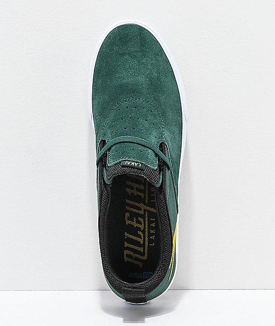 Riley verde y oro Lakai blanco en de skate zapatos Hawk II H0xdPq