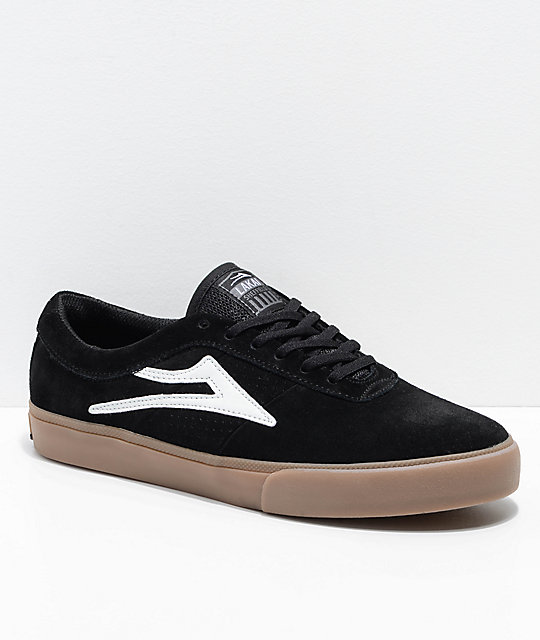 Lakai Sheffield Black & Gum Suede Skate Shoes ...