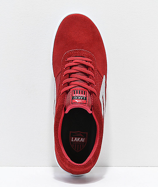 Lakai Sheffield Red & White Suede Skate Shoes