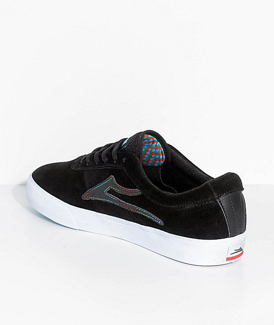 Lakai Sheffield The Flare Black & White Suede Skate Shoes
