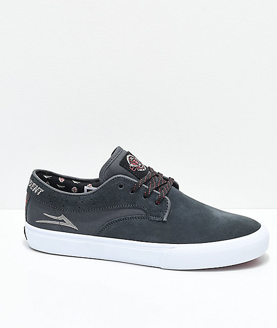 Lakai x Independent Riley Hawk Charcoal & White Skate Shoes