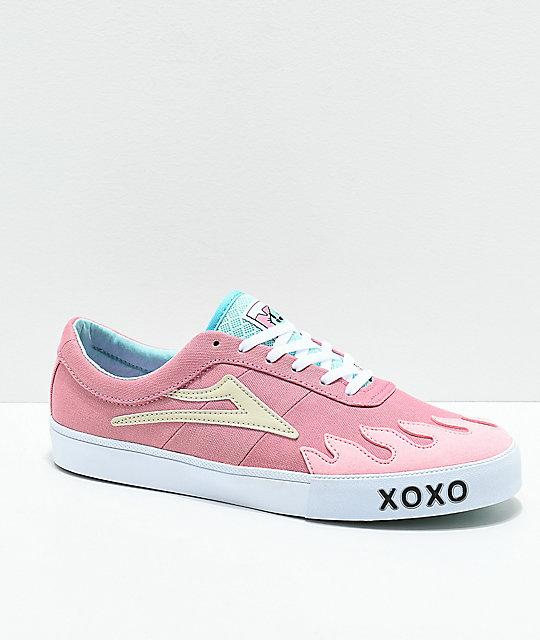Lakai x Leon Karssen Sheffield Pink & White Skate Shoes