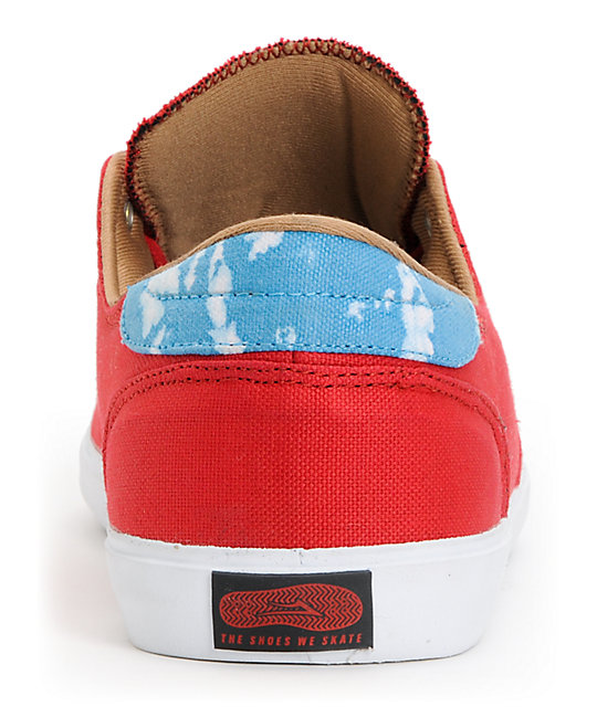 Lakai x The Quiet Life Belmont Red & White Canvas Skate Shoes