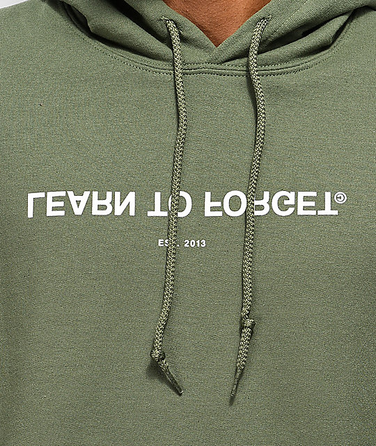Learn To Forget Army Green Logo Hoodie
