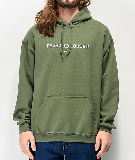 Learn To Forget Logo Army Green Hoodie