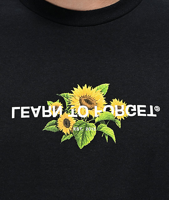 Learn To Forget Sunflower Black T-Shirt
