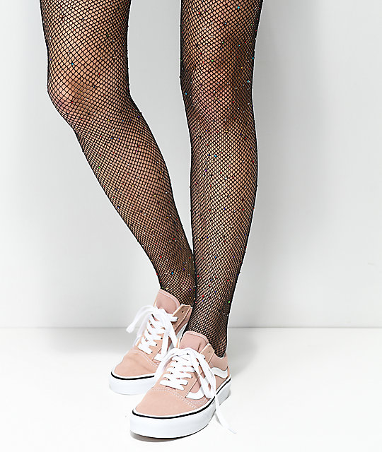 037b1997c7196 Leg Avenue Rainbow Rhinestone Black Fishnet Tights | Zumiez