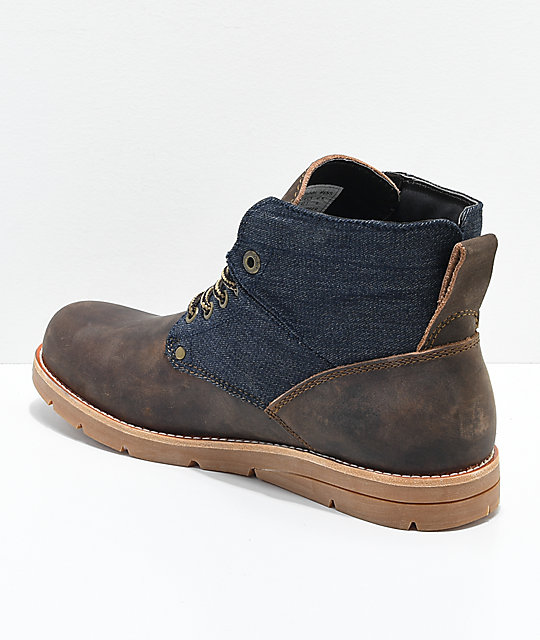 Levi's Jax Brown, Navy, Denim & Leather Boots
