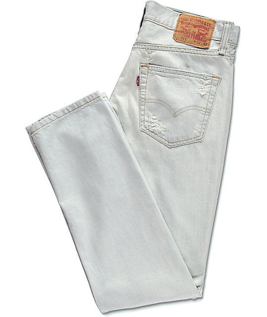 9906623e64 ... Levi s Thrashed 511 jeans blancos rotos