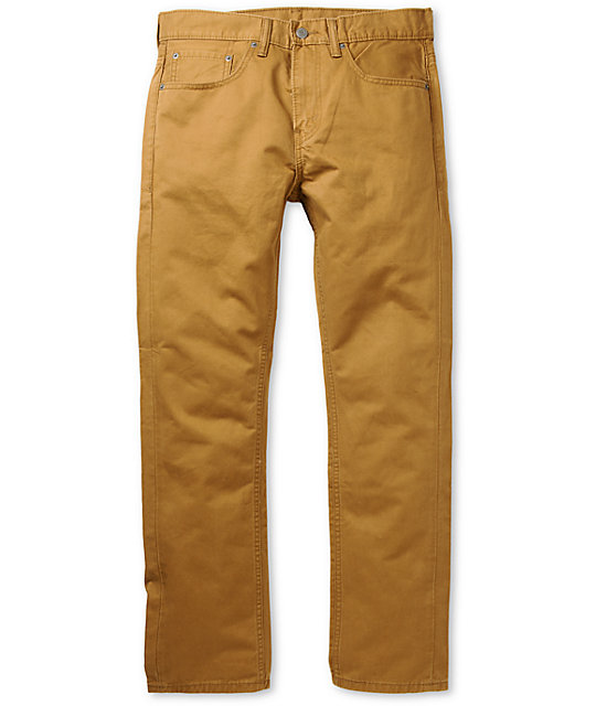 Levis 513 Caraway Clean Dark Khaki Twill Slim Fit Pants