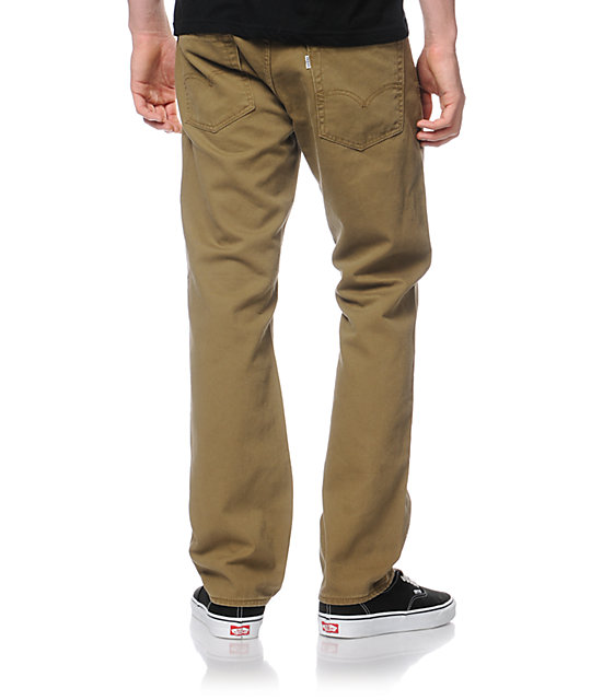 Levis 513 Cougar Bedford Dark Khaki Slim Fit Pants