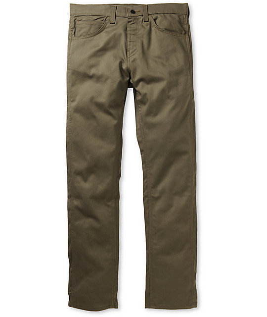 Levis 513 Utility Green Twill Slim Jeans