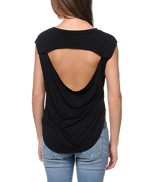 Lira ASAP Black Open Back T-Shirt
