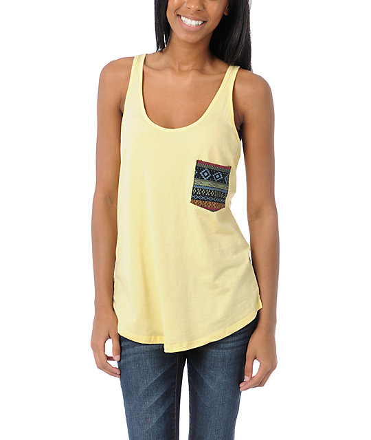 Lira Mayan Pocket Yellow Tank Top