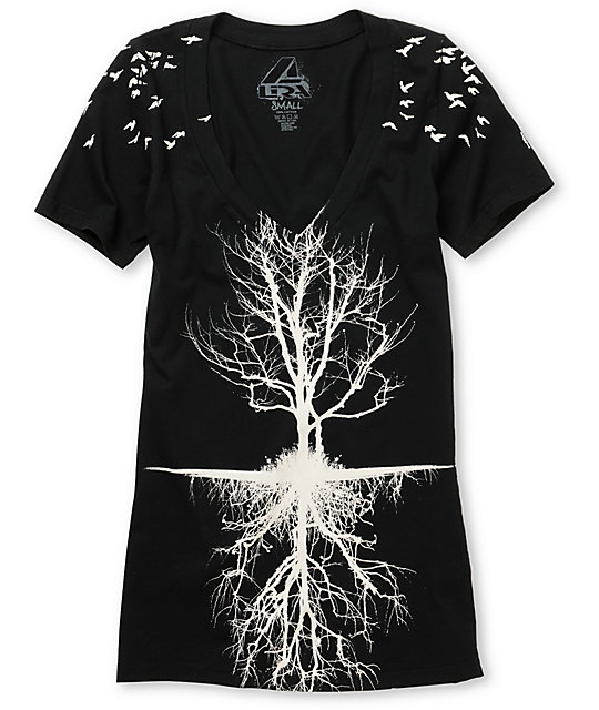 Lira Tree Black V-Neck T-Shirt