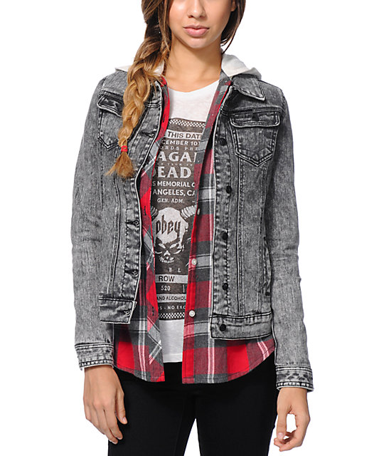 Lira Wild One Aztec Acid Wash Denim Jacket