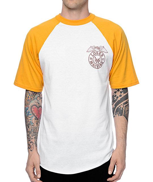 7e492e91 Loser Machine Stamped Yellow & White Baseball T-Shirt   Zumiez