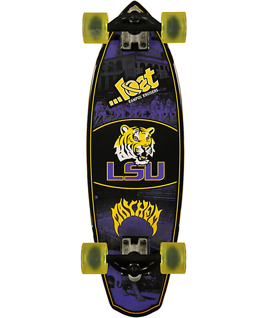 "Lost Louisiana Tigers Rocket Mini 28""  Cruiser Complete Skateboard"