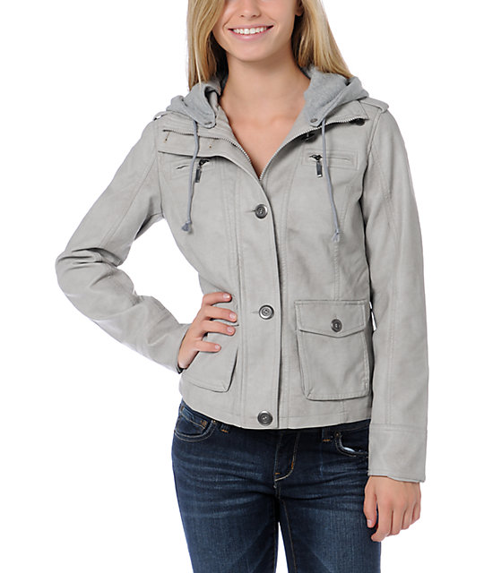 Lost Tuesday Grey Faux Leather Hooded Jacket