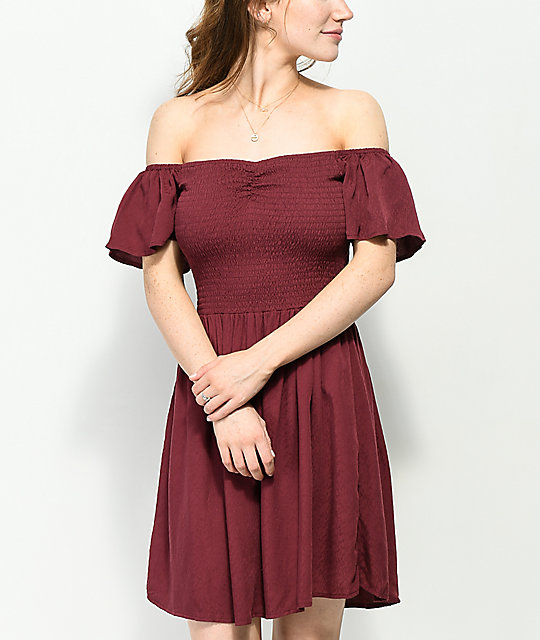 Love, Fire Abby Off The Shoulder Smocked Burgundy Dress