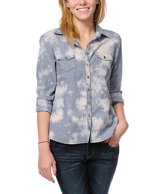 Love, Fire Acid Wash Denim Button Up Shirt