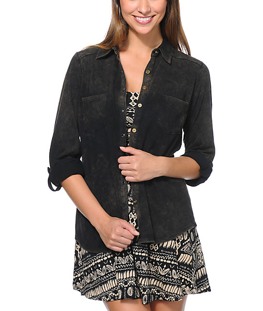 Love, Fire Black Knit Button Up Shirt
